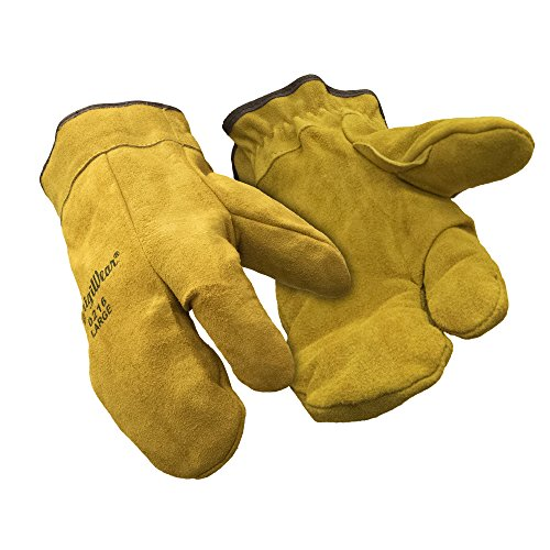- RefrigiWear Sherpa Lined Three Finger Split Cowhide Leather Mitten Gloves (Gold, Large)