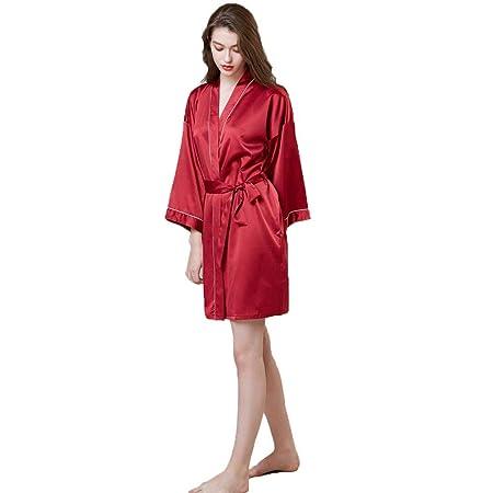 Forall-Ms Bata De Kimono para Mujer, Túnica De Satén, Novia, Dama De Honor, Batas, Bata De Baño Sedosa Ropa De Dormir Sexy con Escote En V/Cinturón Ropa De ...