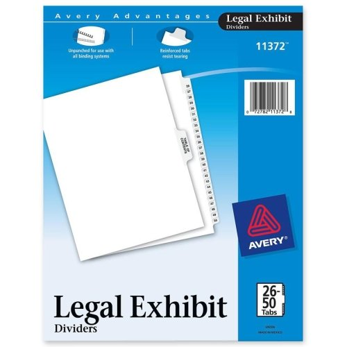 Avery Premium Collated Legal Exhibit Divider - 26 x Divider - Printed26 - 50 - 26 Tab(s)/Set - 8.50