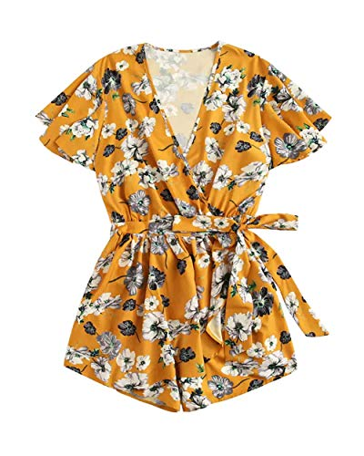 Yellow Floral Romper - lili's story Beach Rompers Summer FloralShort Playsuit Sexy V Neck Short Sleeve Ruffle Jumpsuit Plus Size High Waist Jumpsuit Yellow S