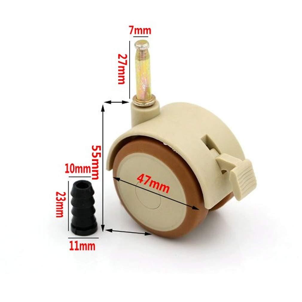CHLUNZI001 roulettes pour Meubles/Petite roulettes pour Mobilier B/éb/é roulettes/Pivotantes 47mm avec Frein Silencieuses Convient Aux Berceaux