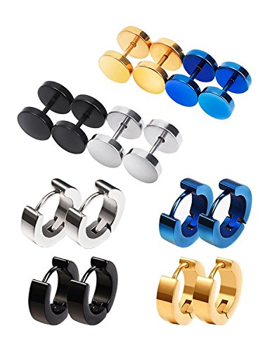 Screw Stud Earrings Hypoallergenic Hoop Piercings, 8 Pairs