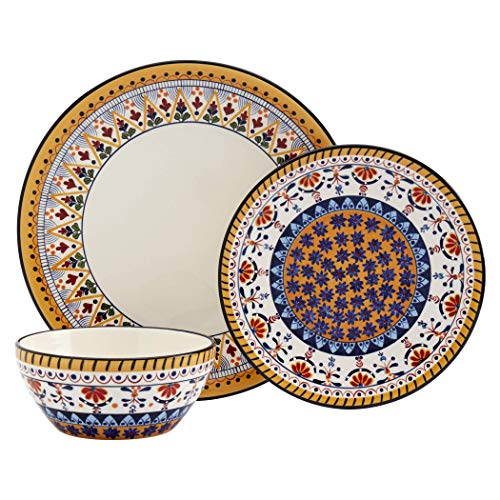 Tabletops Gallery Fashion Dinnerware- Painted earthenware Plates Bowls Salad Dinner Soup Cereal Appetizer Dessert, 12…
