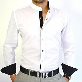 IRMAO Camisa italiana cuello mao Slim Fit Blanca y Negra Blanco blanco: Amazon.es: Ropa y accesorios