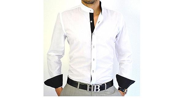 Camisa italiana cuello mao Slim Fit Blanca y Negra Blanco ...