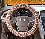 jeep 5th wheel cover - Unique Noble Cute Fine Faux Warm Giraffe Skin Patten High-density PET Hair Flosses Fuzzy Furry Car Winter Steering Wheel Cover for Car SUV Jeep Sedan Van Girls Lady Women, Bushy Fluffy Brown 15