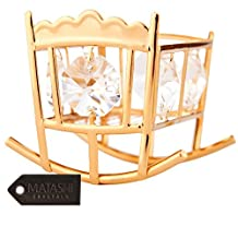 24K Gold Plated Crystal Studded Baby Bassinet Rocking Crib Ornament by Matashi®