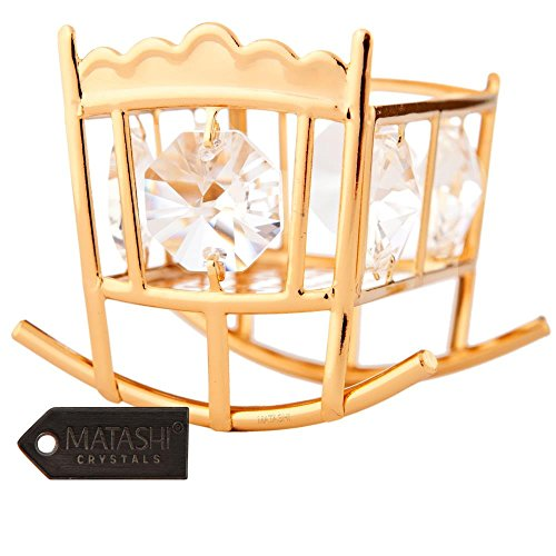 Crib Ornament - Baby's First Holiday Hanging Ornament 24K Gold Plated Crystal Studded Baby Bassinet Rocking Crib Ornament By Matashi