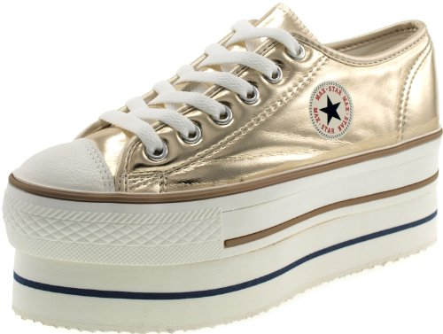 Double Platform Top (Maxstar Women's CN9 6 Holes Double Platform TC Low Top Sneakers Gold 9 B(M) US)