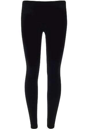 New Womens Ladies Plain Black Long Stretchy Jersey Leggings
