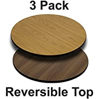 Flash Furniture 3 Pk. 24 Round Table Top with Natural or Walnut Reversible Laminate Top