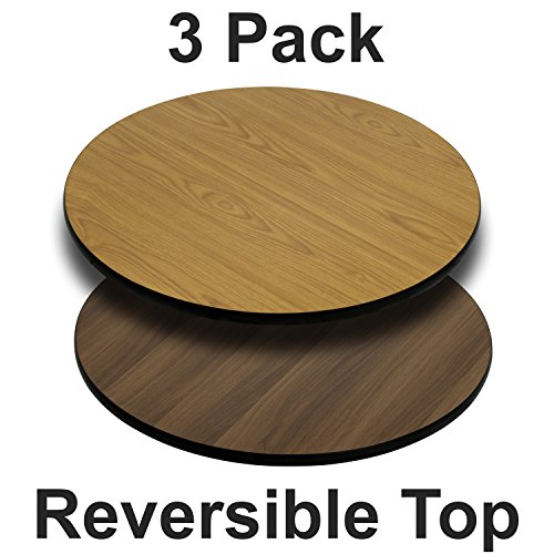 (Flash Furniture 3 Pk. 24'' Round Table Top with Natural or Walnut Reversible Laminate Top)