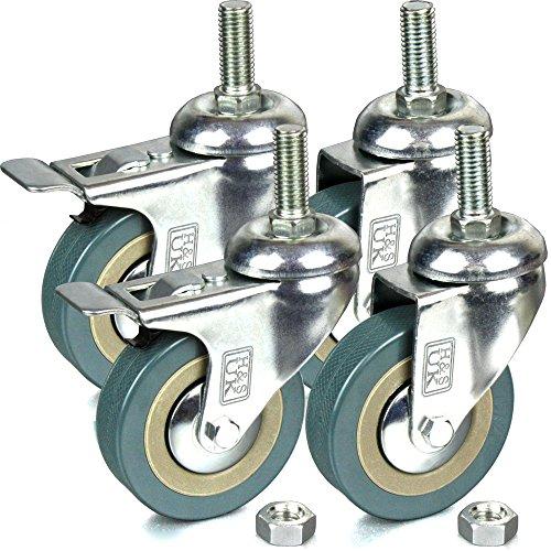 4 Castor Wheels Heavy Duty 200kg 50mm PU Rubber Swivel Trolley Furniture Caster with Brakes Black