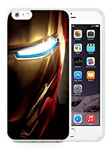 Excellent protection Iron Man Face Close up iPhone 5 Wallpaper White TPU Cover Case For iPhone 6 Plus(5.5)