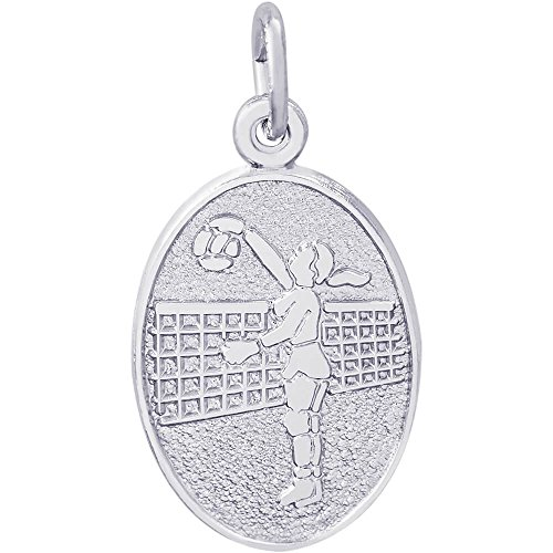 Volleyball 14k Gold Charm (Rembrandt Charms Female Volleyball Charm, 14K White Gold)
