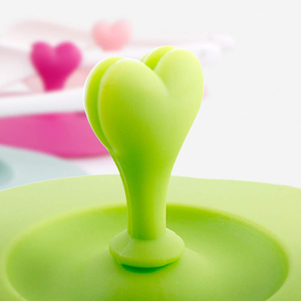 UPKOCH 5pcs Silicone Suction Lids Heart Plum Blossom Shape Heat Resistant Leakproof Little Bowl Mug Cover Anti-dust Drink Cup Lids 10cm Mixed Color