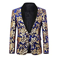 Men's Sequin Floral Dress Suit Jacket