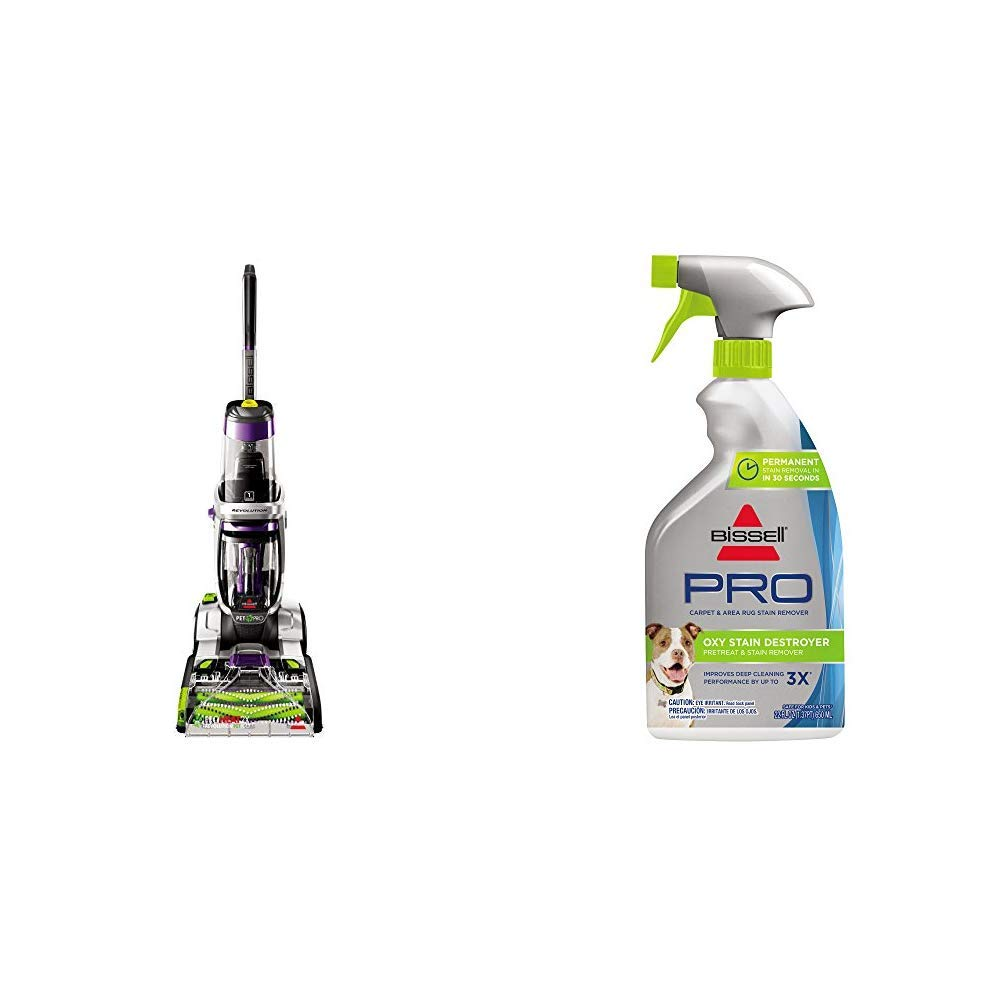 Bissell ProHeat 2X Revolution Pet Pro Full-Size Carpet Cleaner, 1986 &  Destroyer Pet Plus, 1773, 22 oz Oxy Stain Pretreat, 22 Fl Oz by Bissell