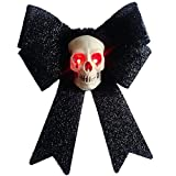 RDC Halloween Skull Decor on iredescent Bow with Light Up Eyes