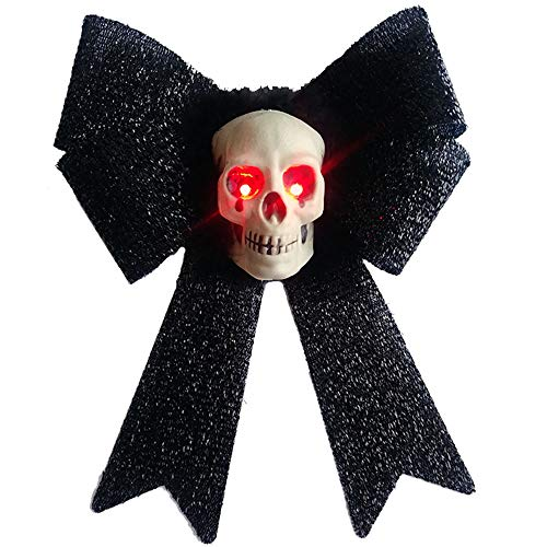 RDC Halloween Skull Decor on iredescent Bow with Light Up Eyes -