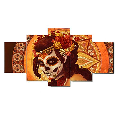 Wall Art for livingroom Dead face Group Printed Canvas Painting Halloween Gothic Women Picture Artwork 5 Pieces Framed Girl Poster Decor Ready to Hang -
