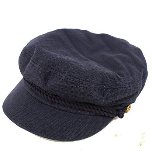 Epoch Men's Summer Cotton Greek Fisherman Sailor Fiddler Driver Hat Flat Cap Navy -