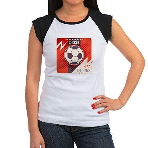 Royal Lion Women's Cap Sleeve T-Shirt Soccer Football Play The Game Red - Black/White, M (8-10)