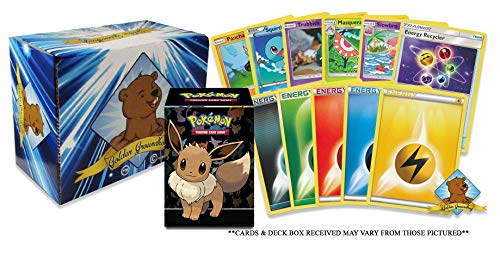 200 Pokemon Card Lot - 100 Pokemon Cards - 100 Energy Cards! Pokemon Beginner's Starter Collection Bundle! Official Pokemon Deck Box! Includes Golden Groundhog Storage Box!