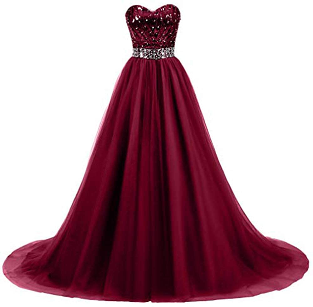Burgundy Ri Yun Women's Sweetheart Sequin Ball Gown Prom Dresses Long Strapless ALine Formal Evening Party Dresses 2019