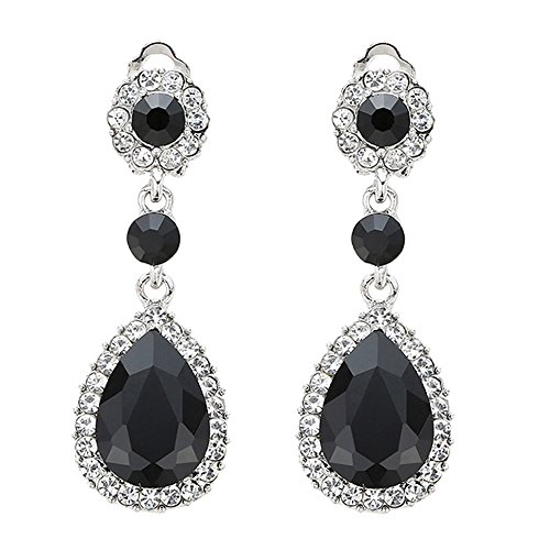 Gorgeous Austrian Cut Crystal Rhinestone Ear Clip on Earring Wedding Bridal Teardrop Drop Dangle Earrings (Clip on Black)