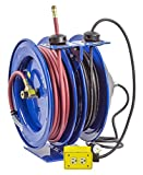 Coxreels C-L350-5012-B Combo Air and Electric Hose Reel with Quad Outlet Attachment, 3/8'' Hose ID, 50' Length