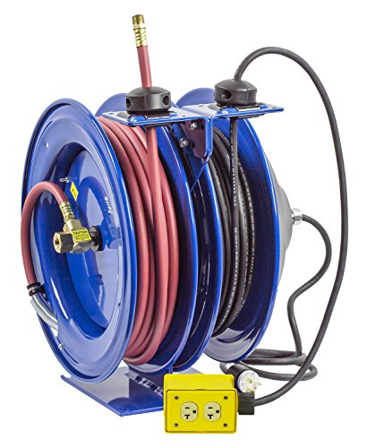 Coxreels C-L350-5012-B Combo Air and Electric Hose Reel with Quad Outlet Attachment, 3/8'' Hose ID, 50' Length by Coxreels