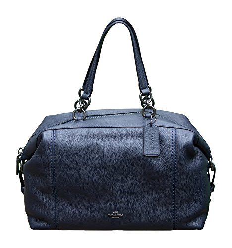Coach Pebble Leather Lenox Satchel Handbag Shoulder Bag, Midnight with Antique Nickel Hardware - Lil Zip Bag