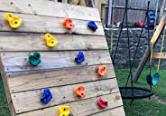 KINSPORY 10pc Kids Colourful Rock Climbing Holds & Prise Escalade Enfant and 2pc Climbing Grips, DIY Pig N