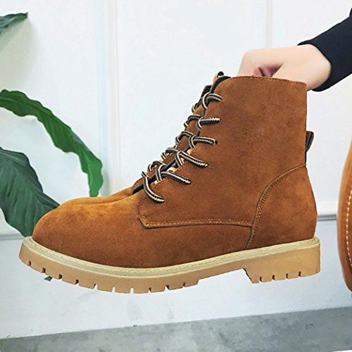 Boot Warm Winter Shoes Women Martin Inkach up Brown Ankle Heels Lace Boots Shoes Shoe Low wqUnfSg