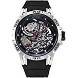 Huboler Men's Watch Skeleton Automatic Mechanical Stainless Steel Wrist Watches (Silver Black)