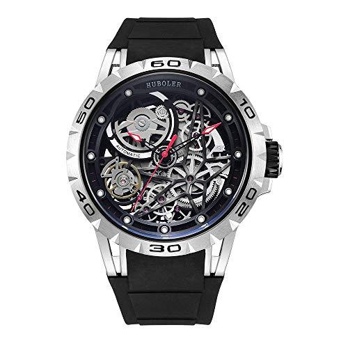 Huboler Men's Watch Skeleton Automatic Mechanical Stainless Steel Wrist Watches (Silver Black)