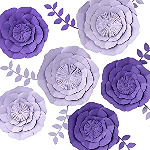 KEY SPRING 3D Paper Flower Decorations, Giant Paper Flowers, Large Handcrafted Paper Flowers (Purple, Lavender Set of 6) for Wedding Backdrop, Bridal Shower, Wedding Centerpieces, Nursery Wall Decor 2