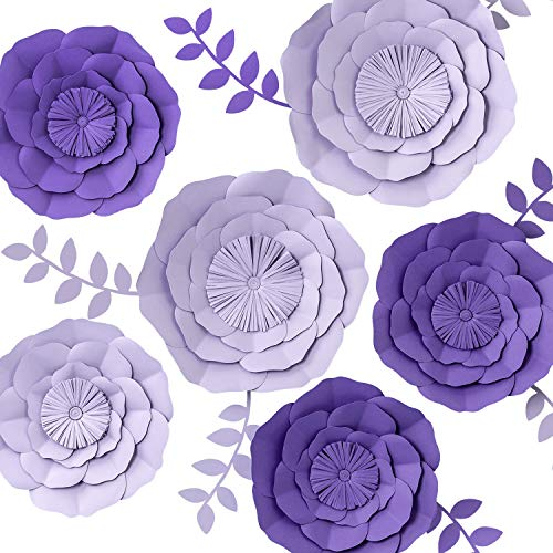 KEY SPRING 3D Paper Flower Decorations, Giant Paper Flowers, Large Handcrafted Paper Flowers (Purple, Lavender Set of 6) for Wedding Backdrop, Bridal Shower, Wedding Centerpieces, Nursery Wall Decor]()