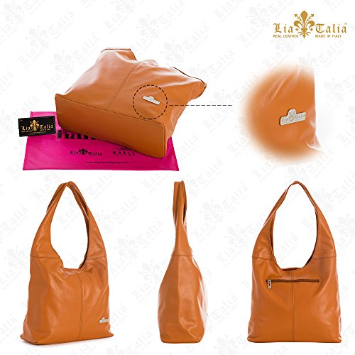 Italian Leather LIATALIA Shoulder Light Shopper Genuine Beige bag Hobo Medium Soft OLIVIA 566qwTtxR