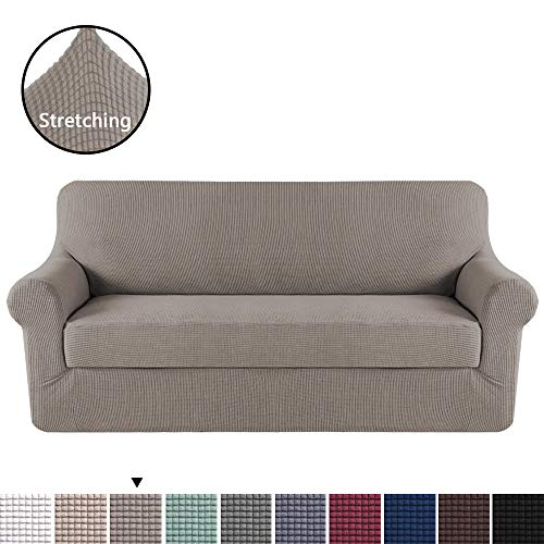 H.VERSAILTEX High Stretch Sofa Cover 2 Pieces Machine Washable Stylish Furniture Cover/Protector with Spandex Jacquard Checked Pattern Fabric (Sofa, Taupe)