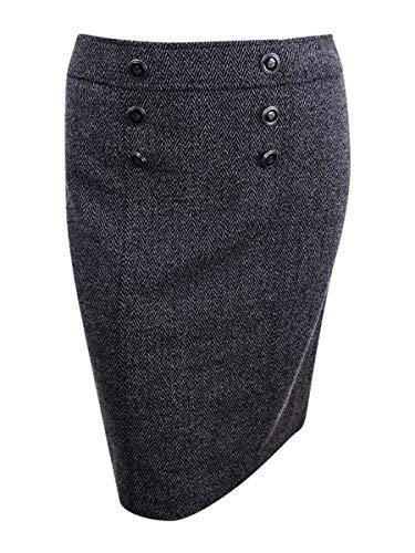 Kasper Women's Knit Herringbone Button Front Skirt, Black/Multi, 10