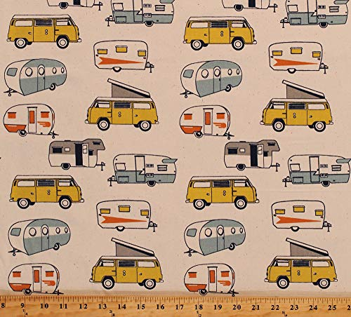 - Home Decor Retro Campers Trailers Vans Camping RV's on Cream 45