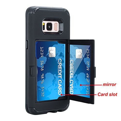 SUMOON [Card Holder] [Hidden Mirror] Luxury Three Layer Card Holder, ID Credit Card Slot Hidden Pocket Protective Wallet case Cover for Samsung Galaxy S8 Plus (Black) ()