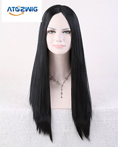 [ATOZWIG Sexy Women New Cosplay Party Long Straight NO Bangs Natural Black Hair Cosplay Wigs Costume Party Fancy] (Long Sexy Wigs)