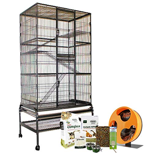 Exotic Nutrition Congo Cage & Starter Package for Sugar Gliders - Cage, Wheel, Food, Water Bottle, Accessories