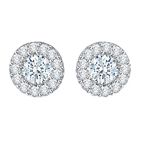 Prong Si2 Clarity Diamonds - Diamond Stud Fashion Earrings in 14K White Gold (1/2 cttw) (JK-Color, SI2/I1-Clarity)