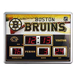 Team Sports America Boston Bruins Scoreboard Style Clock & Thermometer