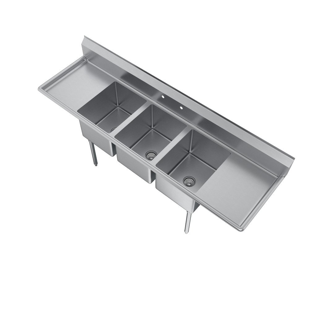 Elkay Foodservice 3 Compartment Sink, 66''X19.75'' OA, 36'' Working Height, 10X14 Bowl, 10 Deep, 10.75'' Backsplash, Left & Right 16 Drainboards, 8'' On Center Faucet Hole, Galvinized Legs, Adjustable Feet, 16 Gauge 300 Series Stainless Steel, NSF Certified by Elkay (Image #5)