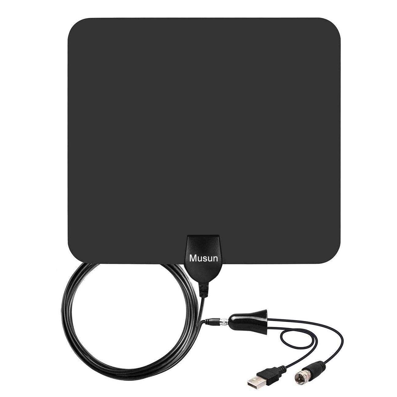 [2019 Latest] Amplified HD Digital TV Antenna 60-95 Mile Range.Support 4K HD VHF UHF Freeview Television Local Channels w/Detachable Signal Amplifier and 13.3ft Longer Coax Cable by Musun
